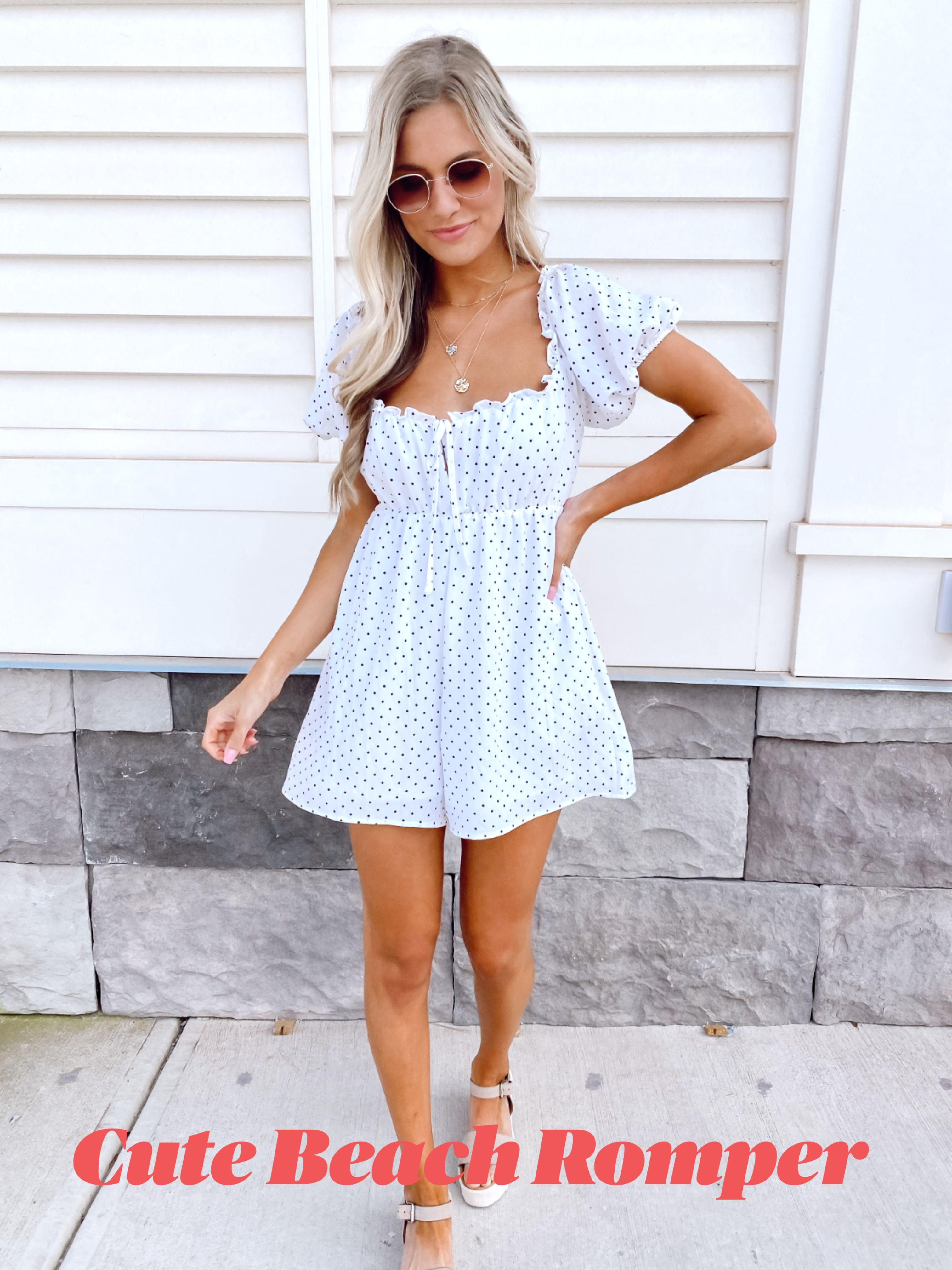 Cute Summer White Romper In 2020 Polka Dot Dress Outfit Dot Dress Outfit Dress Boutiques Online [ 4032 x 3024 Pixel ]