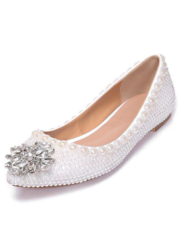 9fbf914fa30b91 Women s Patent Leather Closed Toe Flat Heel With Pearl Rhinestone Casual  Flat…