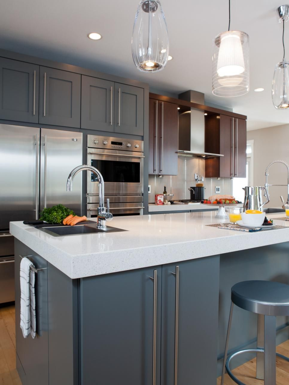 long cabinet pulls travel the full height of the door adding a vertical design mid century on kitchen cabinets modern contemporary id=51893