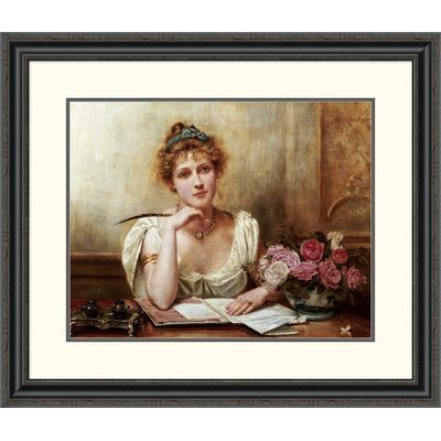 "Global Gallery 'The Letter' by George Goodwin Kilburne Framed Painting Print Size: 22.59"" H x 26"" W x 1.5"" D"