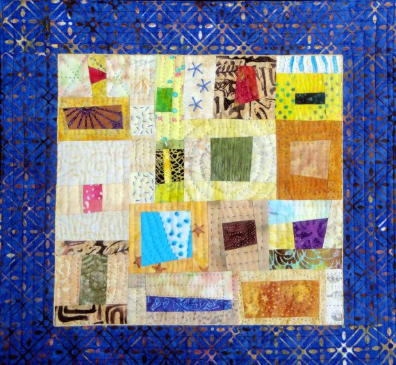 Blue & Yellow Fiber Art | Quilted Wall Hanging | Julie Bagamary Art ...