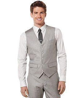 Perry Ellis Pewter Heather Textured Blazer Vest And Pants