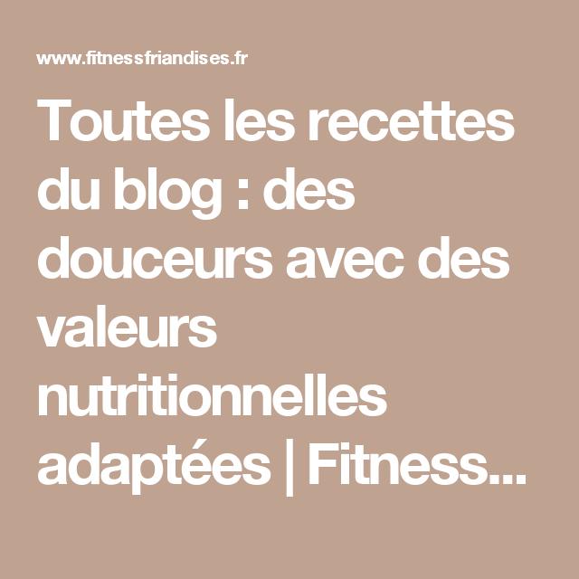 Toutes les recettes du blog : des douceurs avec des valeurs nutritionnelles adaptées |  Fitnessfriandises.fr