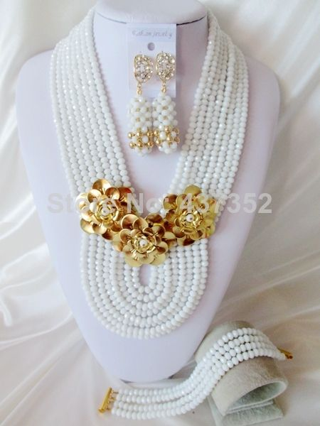 Wonderful New Arrived White Crystal Beads Women Nigerian Wedding Party African Beads Jewelry Set Free Shipping CPS3902 $58.83