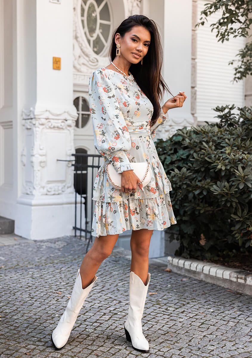 Sukienka Amare Niebieska W Kwiaty Butiklatika Pl Dresses Fashion Shirt Dress