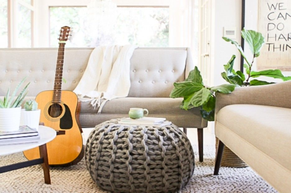 Living Room Grey Knit Pouf Ottoman Living Room With Round Knitted Pouf  Ottoman