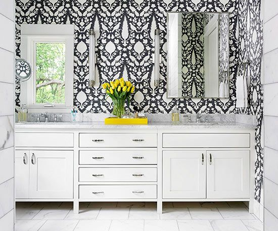 Greh + White bath with bold wallpaper