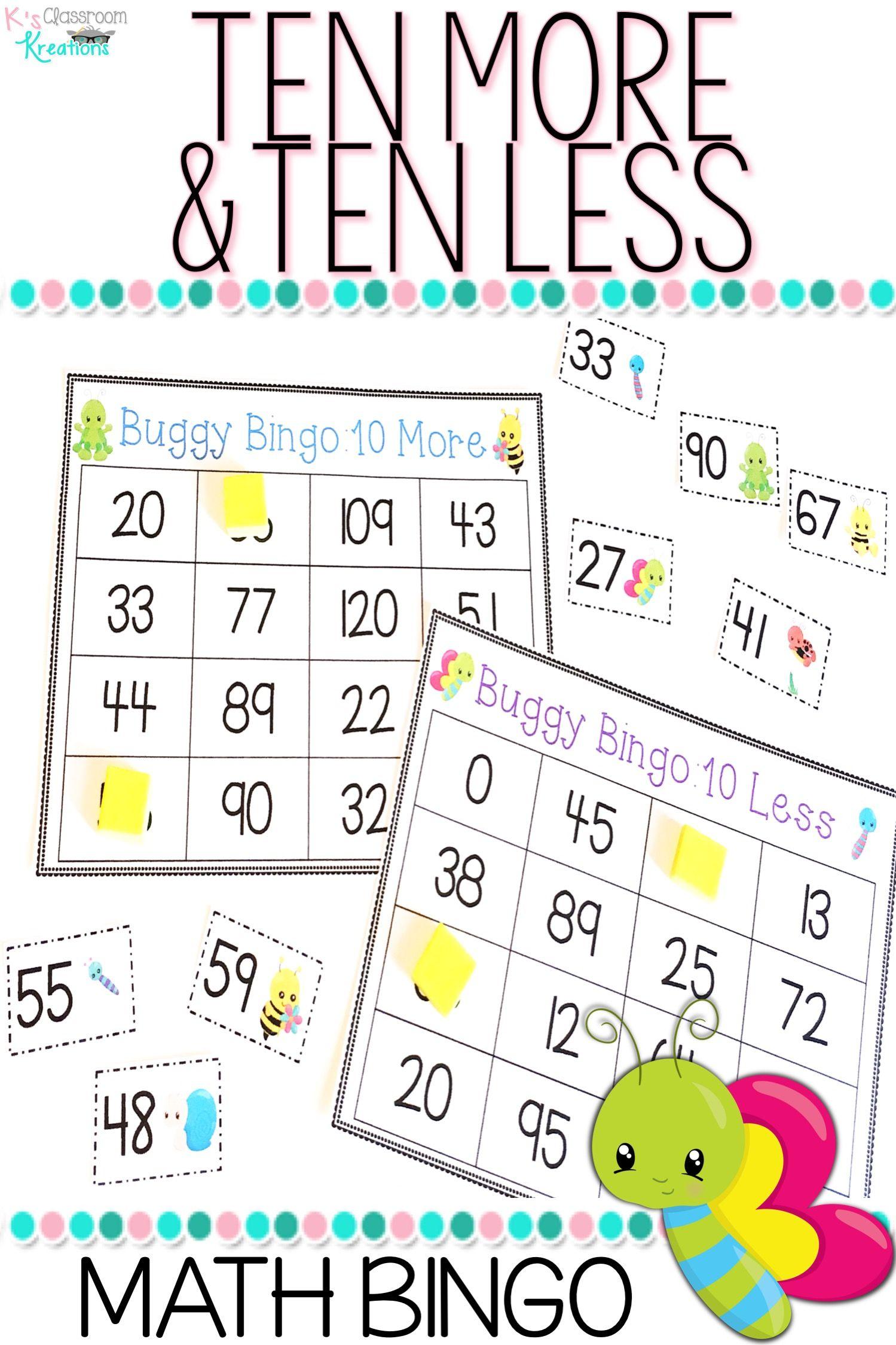 Ten More And Ten Less Bingo Bug Theme
