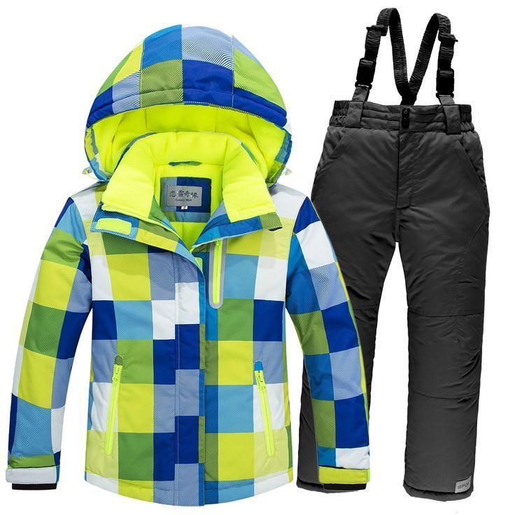 f1fb124771dd Winter Children Ski Suit Windproof Warm Girls Clothing Set Jacket + ...