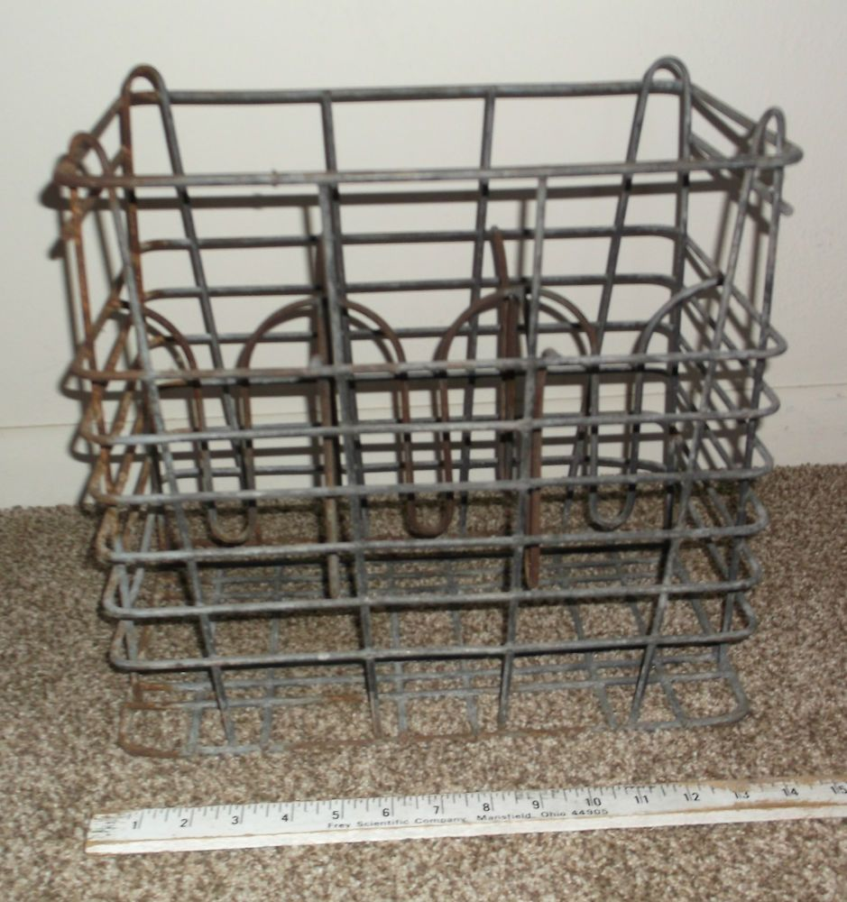Antique Vintage Wire Milk Bottle Carrier Metal Basket Primitive