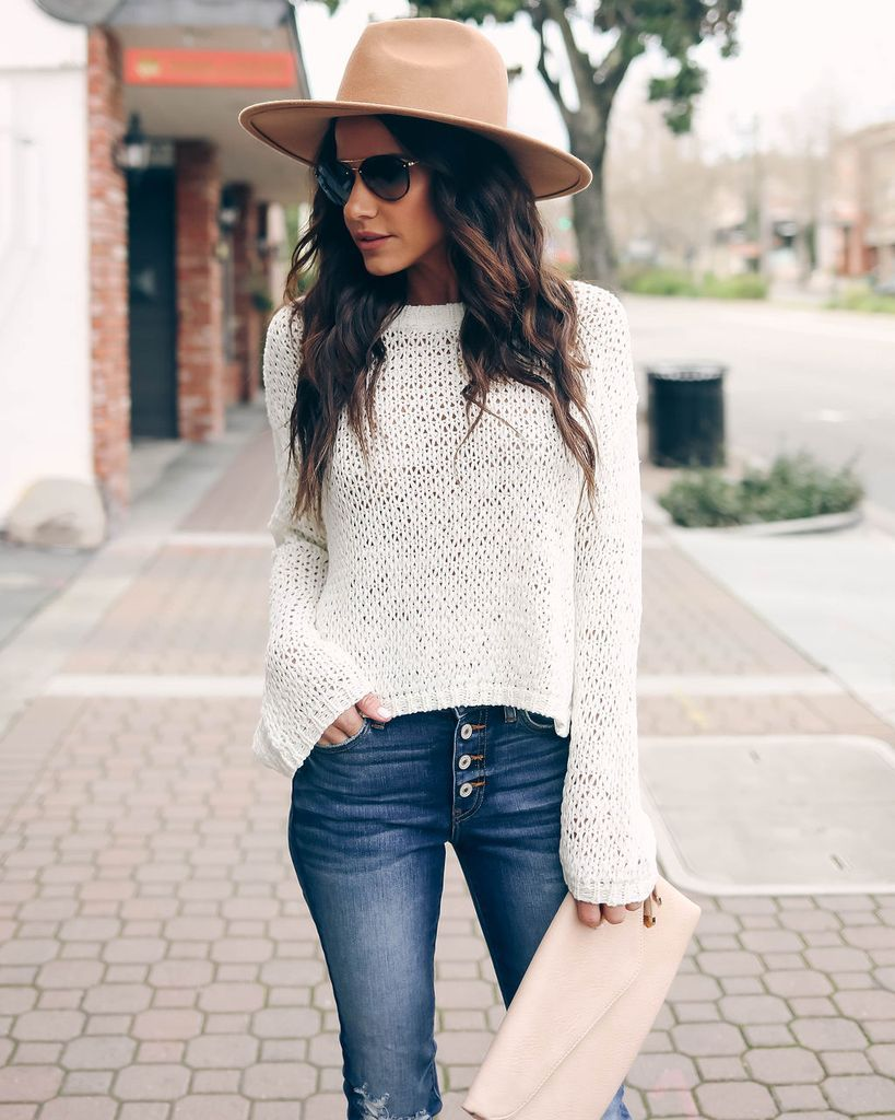 b1d1584865563 Click to shop our website or follow us at  VICIDOLLS for all the latest  updates + fashion inspo! Can t Stop The Feeling Woven Sweater - Ivory