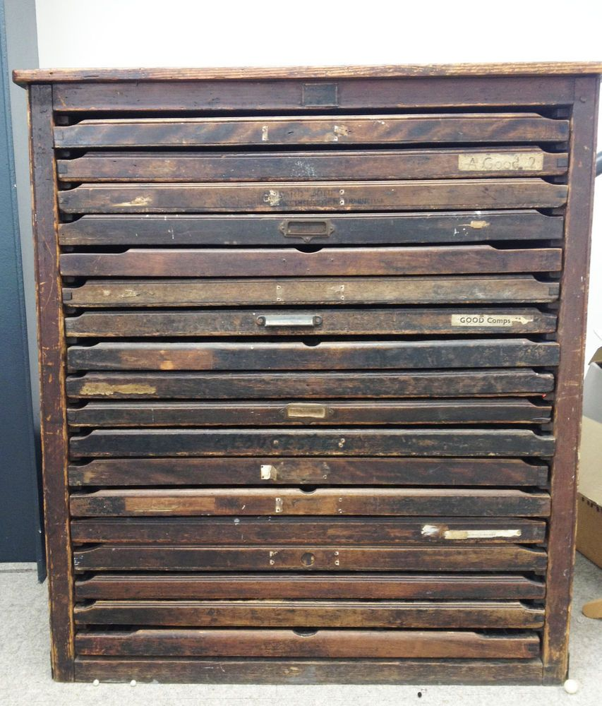 Antique Letterpress cabinet Printer's Chest with 18 DRAWERS