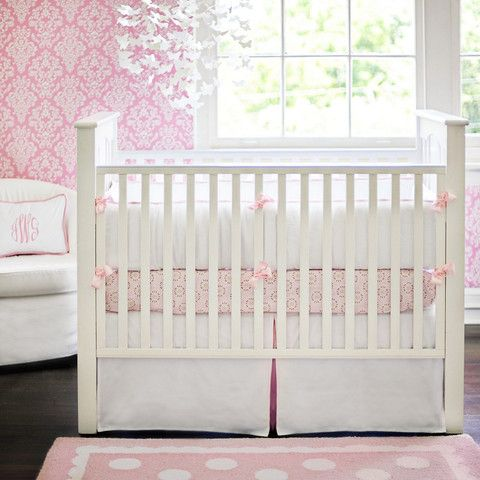 White Pique With Pink Trim Baby Bedding Set Baby Girl