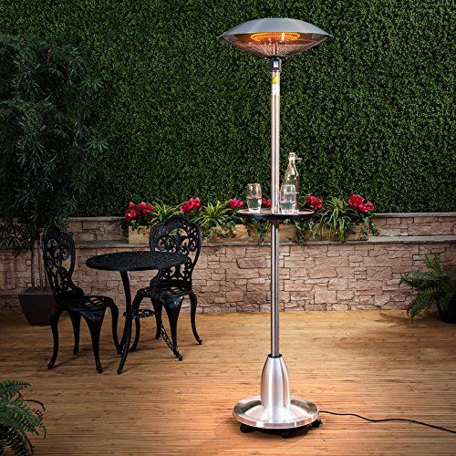 Fire Mountain Floor Standing Halogen Electric Patio Heater With Table    2.1m High, Stainless