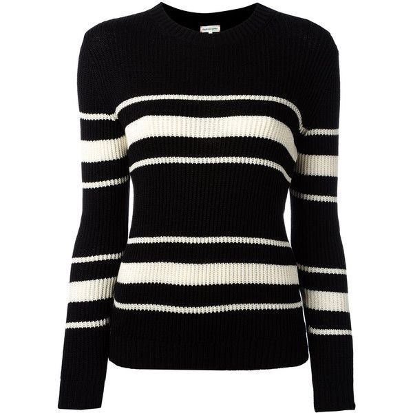 Chinti And Parker striped ribbed jumper (560 BAM) ❤ liked on Polyvore featuring tops, sweaters, black, chinti and parker, ribbed top, striped top, jumpers sweaters and rib top