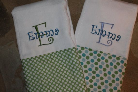 Set of 2 Personalized Burp Cloths-Baby Girl on Etsy, $18.00