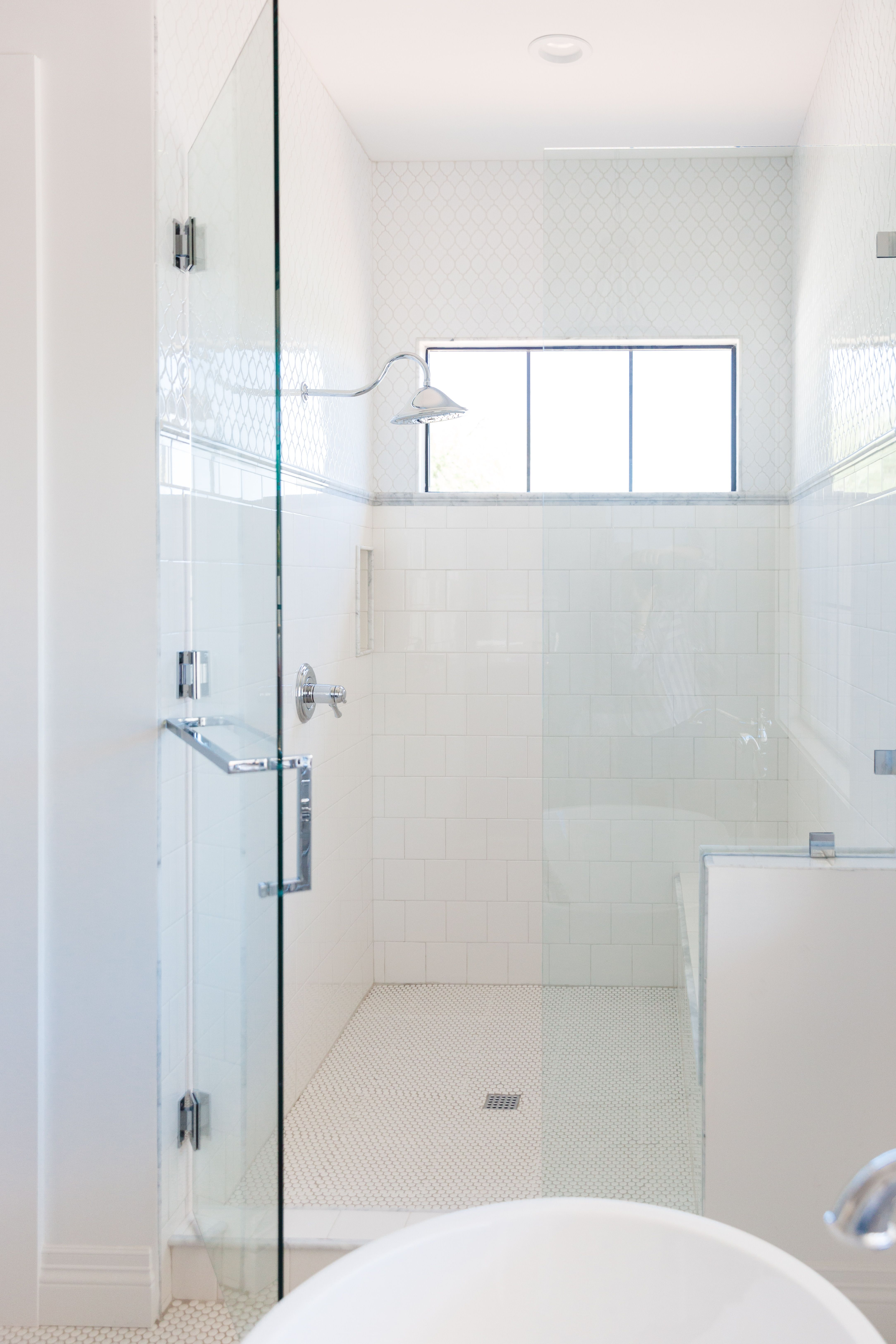 THE LifeStyled CO 76th Build, guest bathroom, shower, white moroccan ...