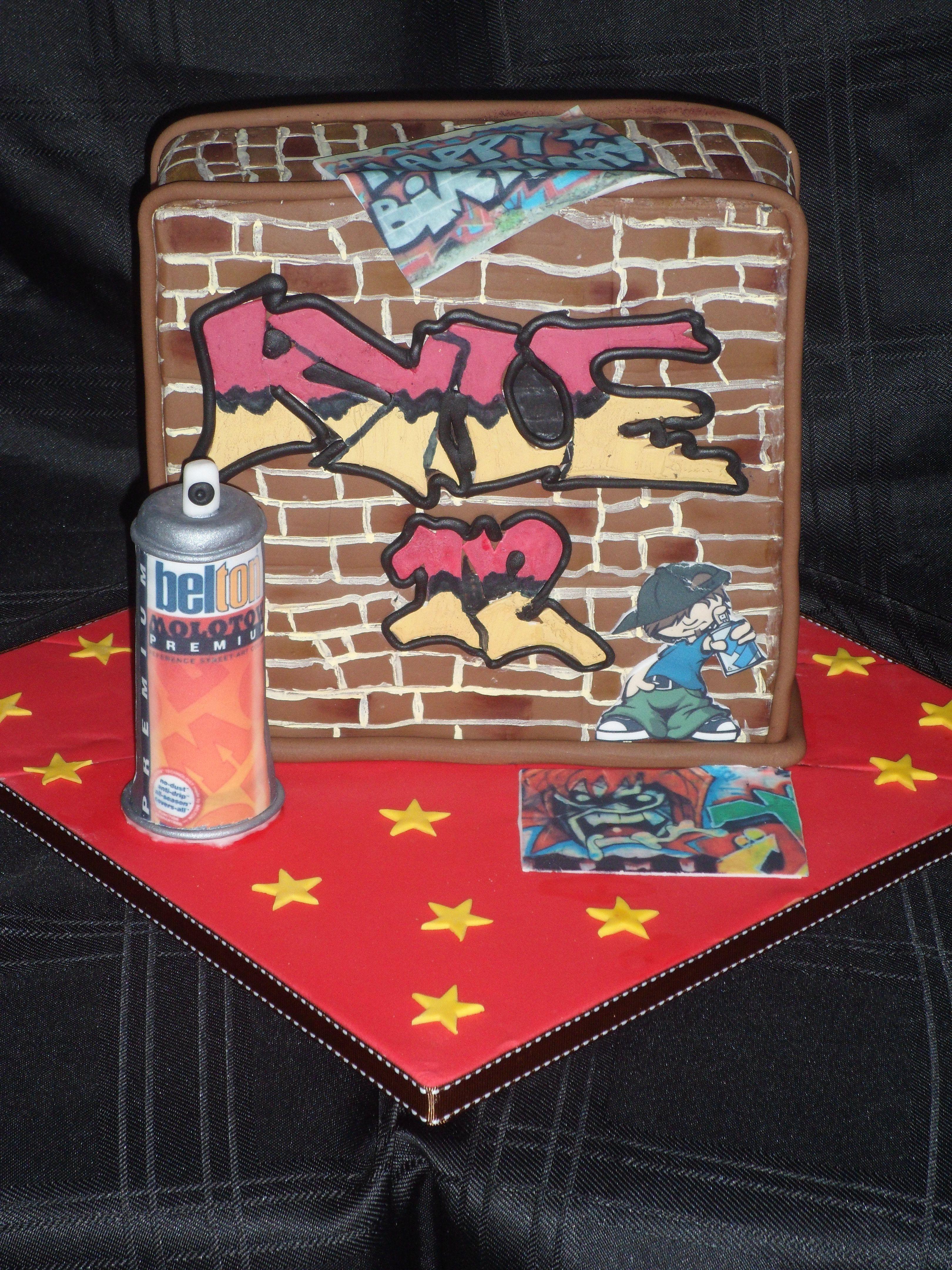 Brick Wall Graffiti Theme Cake With Sugar Spray Paint Can