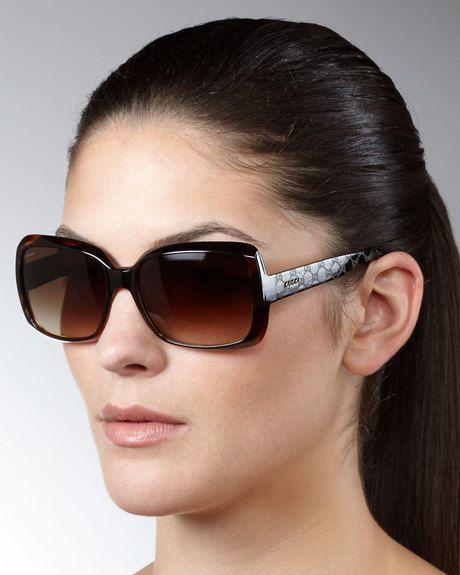 Gucci Brown Havana Acrylic Womens Sunglasses in Brown | Lyst  |Gucci Sunglasses Women 2013