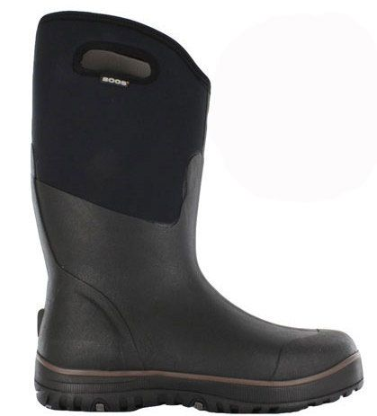 BOGS Footwear Mens Classic Ultra High Black Boot. With 100% waterproof protection and comfort rated down to -40°C these boots offer non-slip outsoles and easy pull-on handles. Ideal for wading in shallow water, or for keeping feet warm whilst waiting for a catch. www.bogsfootwear.com