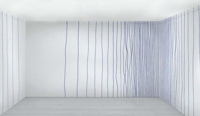 Parallel-Laufende Streifen-an Wand Blau-Stiftzeichnung Ideen - wand streifen