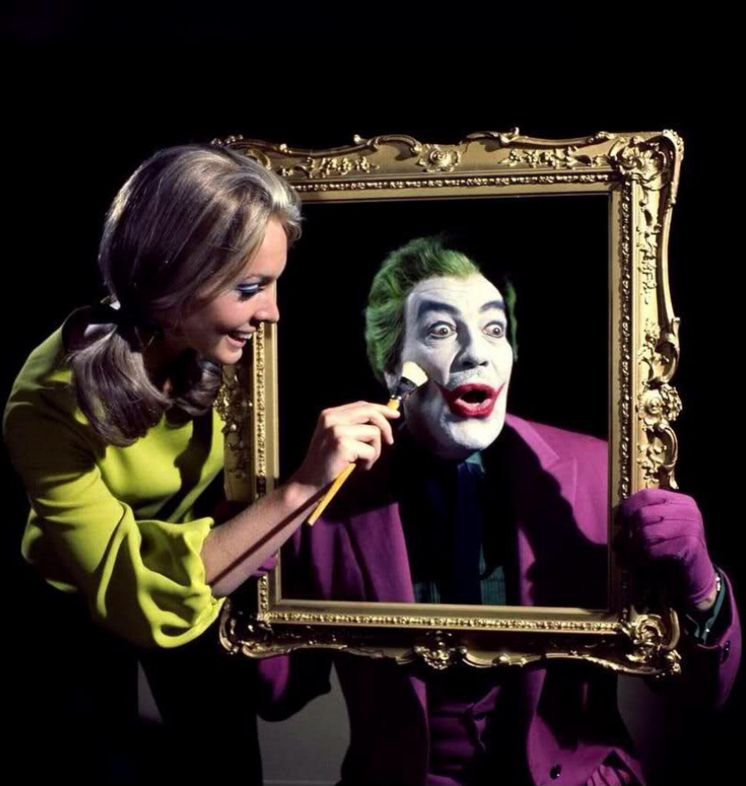 """""""Madness, as you know, is a lot like gravity, all it takes is a little push."""" -The Joker. Here's the """"J-Man"""" himself getting his makeup touched up for his cynical close up!"""
