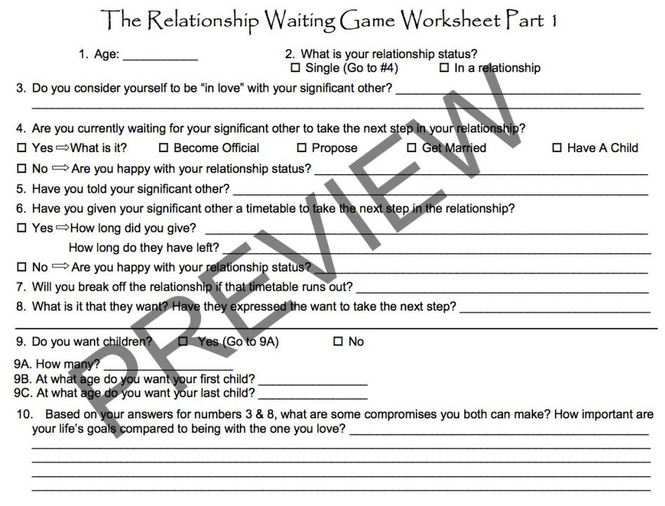 This Relationship Waiting Game Worksheet Is For Anyone Who Is