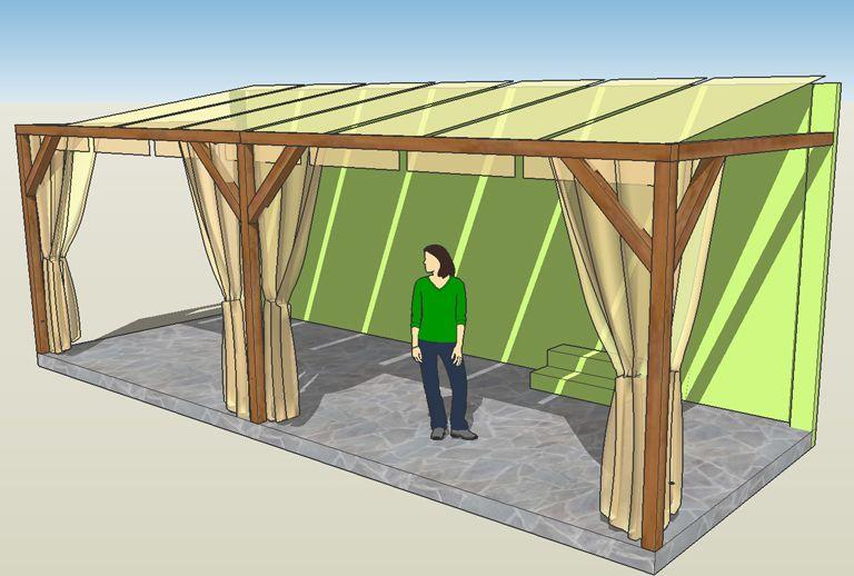 Pergola Aus Holz Mit Sonnensegel | Balkon | Pinterest | Pergolen ... Holz Pergola Vorhangen Ideen Garten