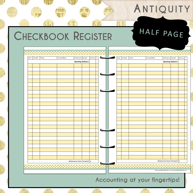 Us Half Page Printable Checkbook Register By