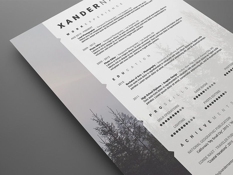 Photographer Resume - PSD Template by Cursive Q Designs on - sample resume for photographer