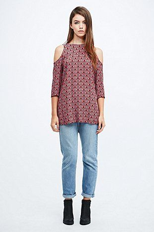 Staring at Stars Boho Print Cold Shoulder Tunic Top - Urban Outfitters