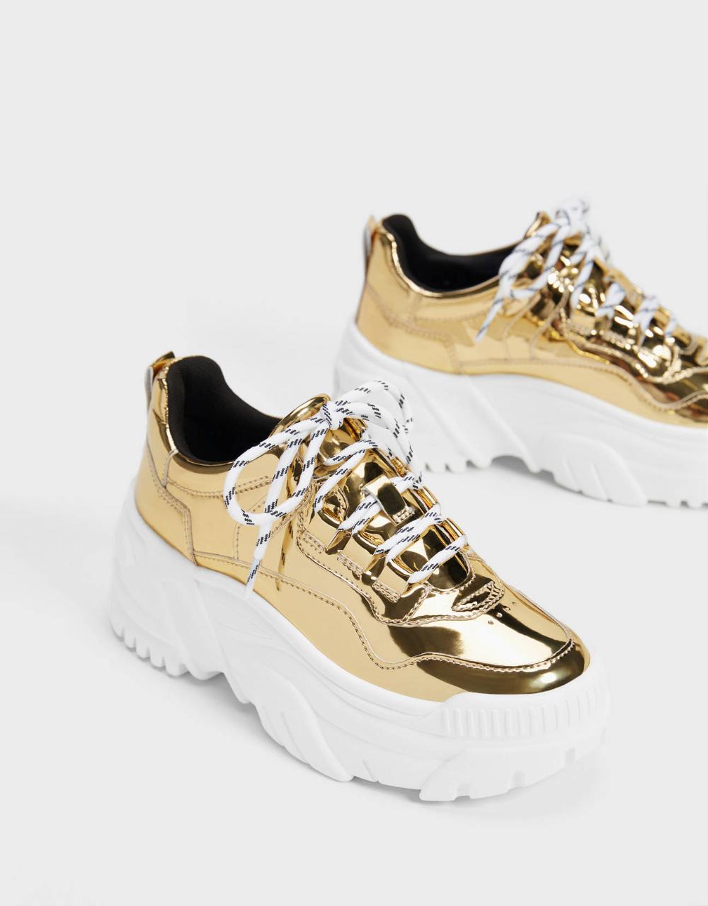 کتونی زنانه طلایی برشکا لژدار Sneakers Shoes Hoka Running Shoes