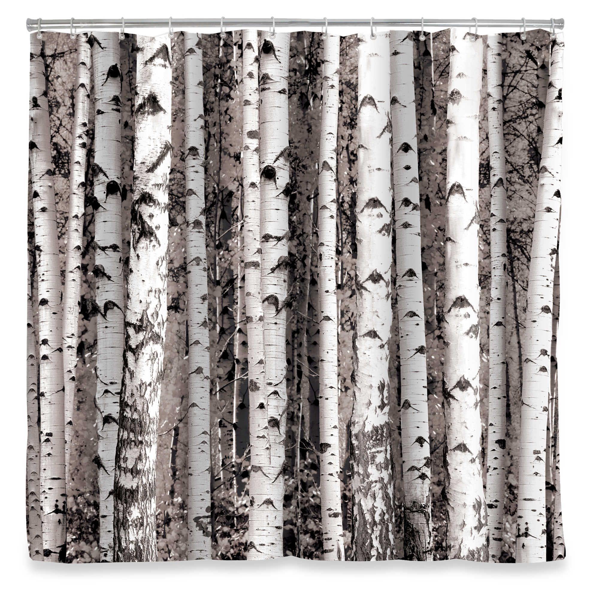 Kikkerland Design Birch Shower Curtain With Images Tree