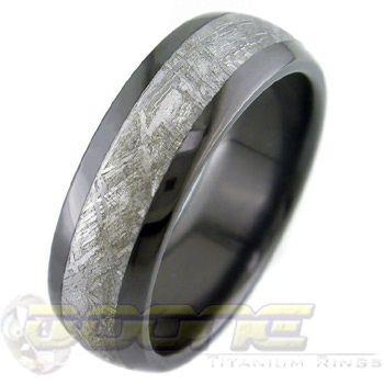 ring company meteorite wedding rings in titanium black zirconium and - Meteorite Wedding Rings