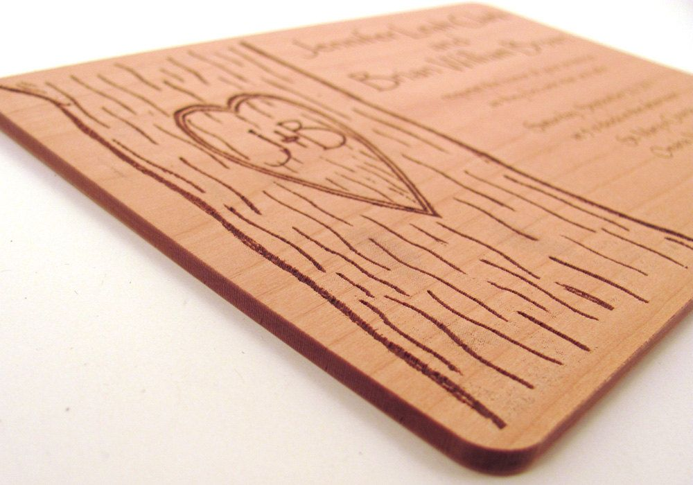 Engraved Wooden Wedding Invitation - Real Wood Invitation | Country ...