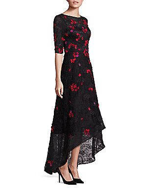 15c58ded5ed Teri Jon by Rickie Freeman Embellished Lace Hi-Lo Gown - Black-Red ...