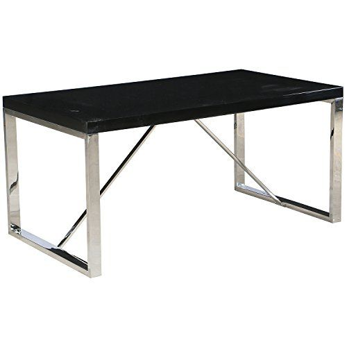 2xhome Black Modern Designer Dining Table Glossy Top with Chrome ...