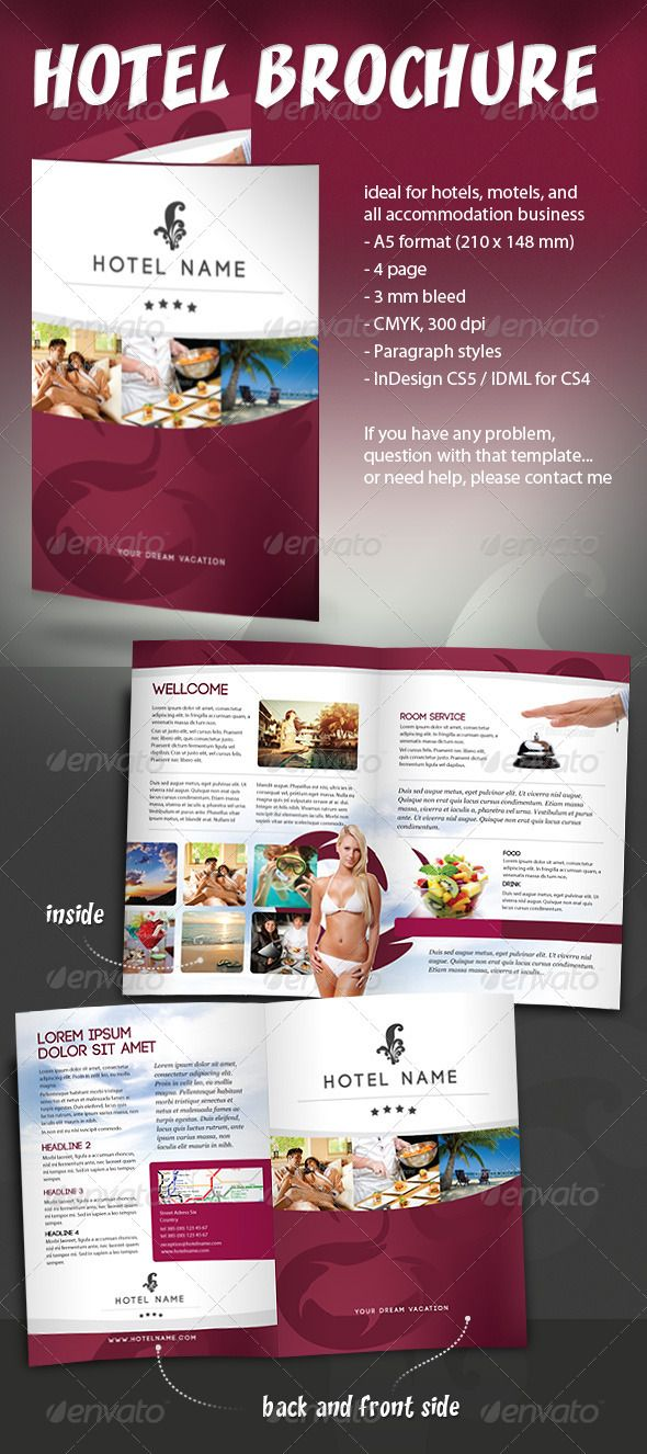 Hotel Brochure Hotel brochure, Brochures and Brochure template