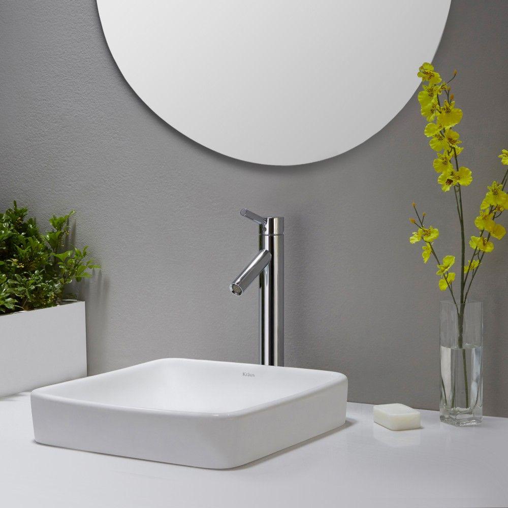 Kraus Kcr 281 Elavo White Above Counter Single Bowl Bathroom Sinks
