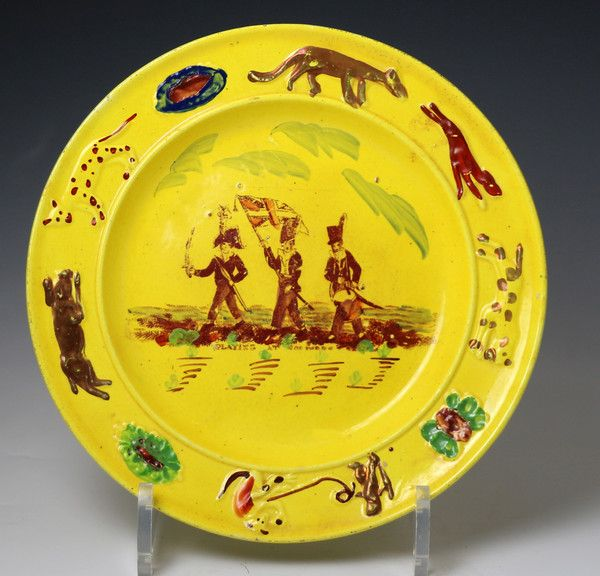 Antique Welsh Pottery Childs Nursery Plate In Canary Yellow Showing Children Childrens Pottery Pottery Antique Pottery