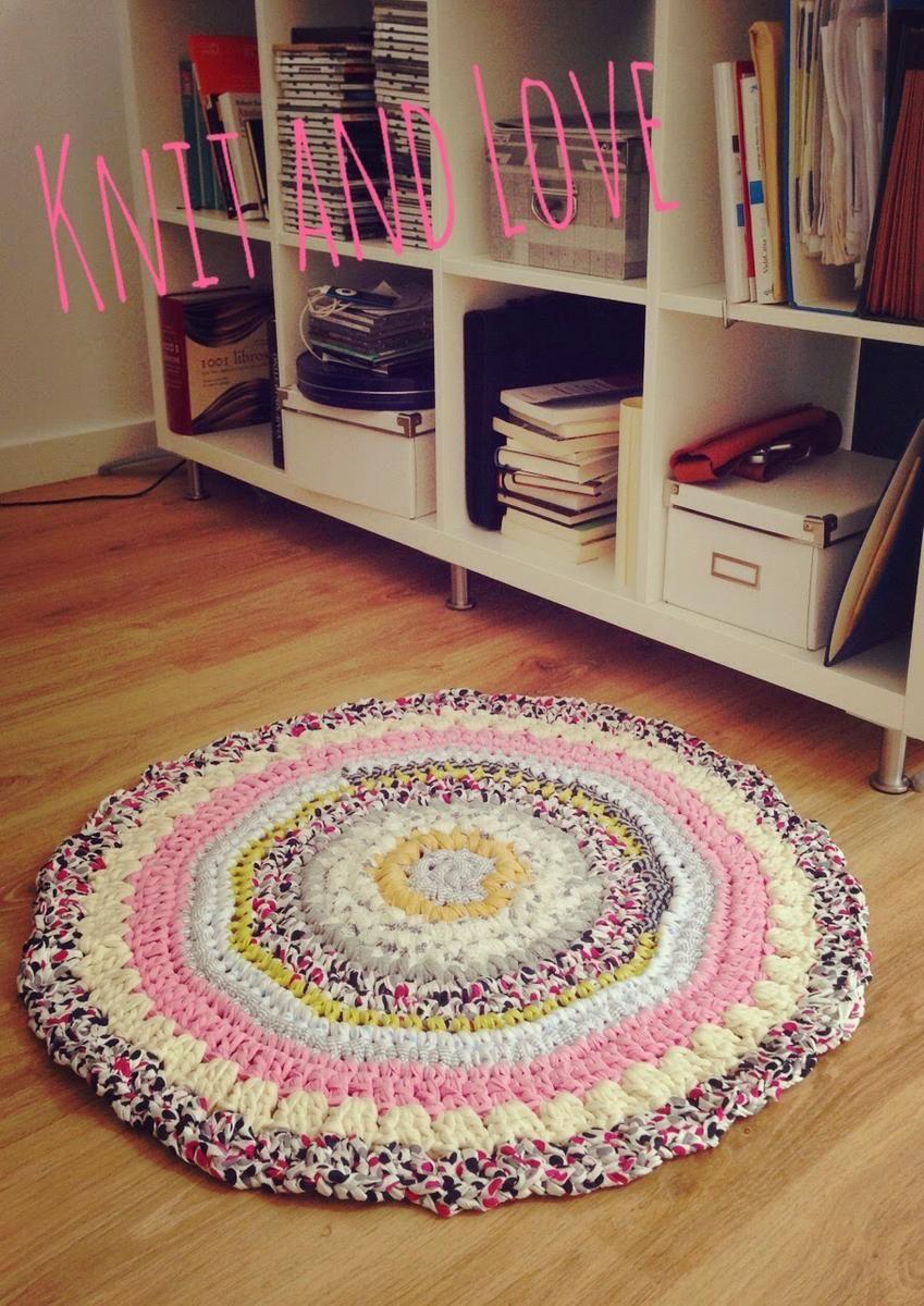 Alfombra multicolor trapillo recicla retales trapillo reciclado y alfombras redondas - Alfombra de trapillo cuadrada ...