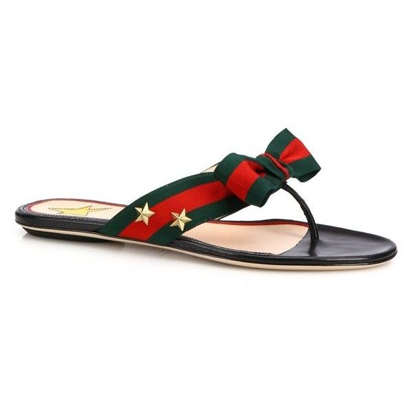8dbe2ef023e Gucci Aline Grosgrain Web Thong Sandals ( 495) ❤ liked on Polyvore  featuring shoes