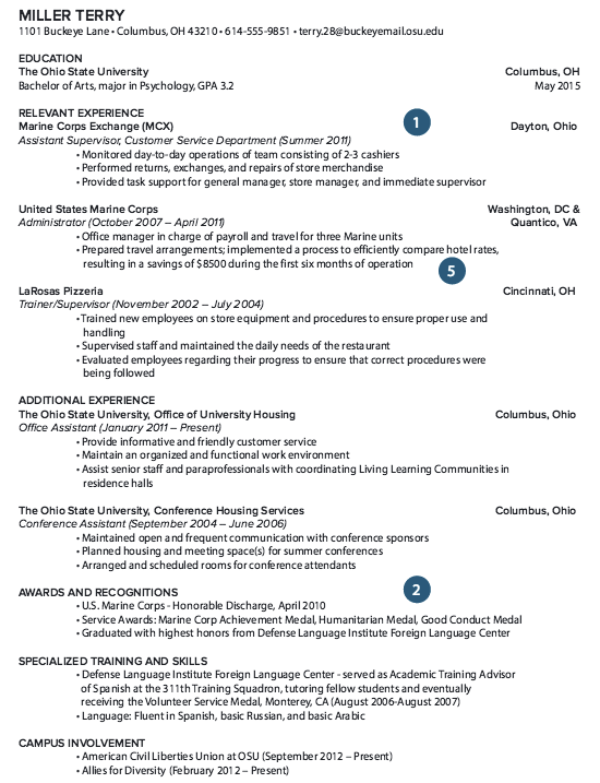 retired military resume example