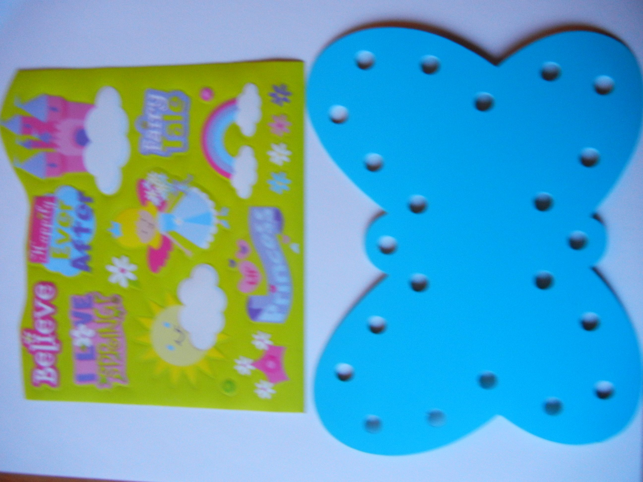 Butterfly lacing card with stickers.   Have your child use cute stickers to decorate the butterfly lacing card.   Then use a shoelace to sew the card.  Great for fine motor skills!