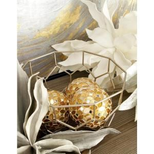 Litton Lane 4 In Dia Gold Glass And Pvc Mosaic Decorative Balls Set Of 4 24010 Gold Glass Gold Tile Mosaic Glass