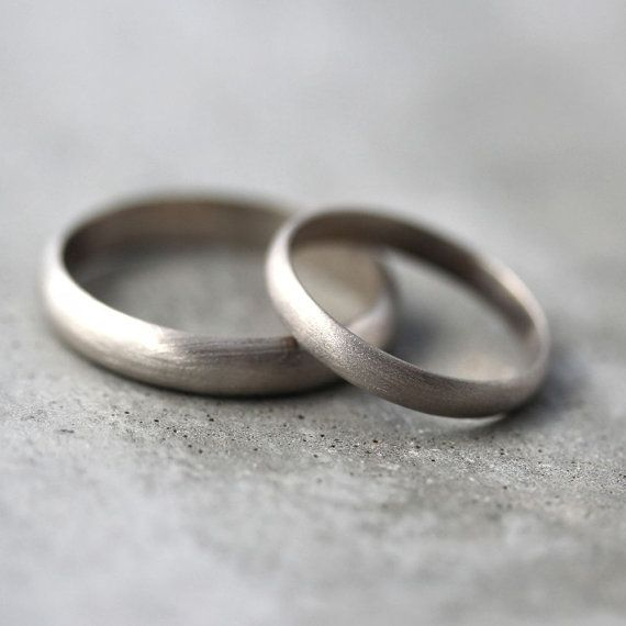 Gold Wedding Band Set, His and Hers 4mm and 3mm Brushed Half Round 14k Recycled Palladium White Gold Wedding Ring Set - Made in Your Sizes on Etsy, $915.00