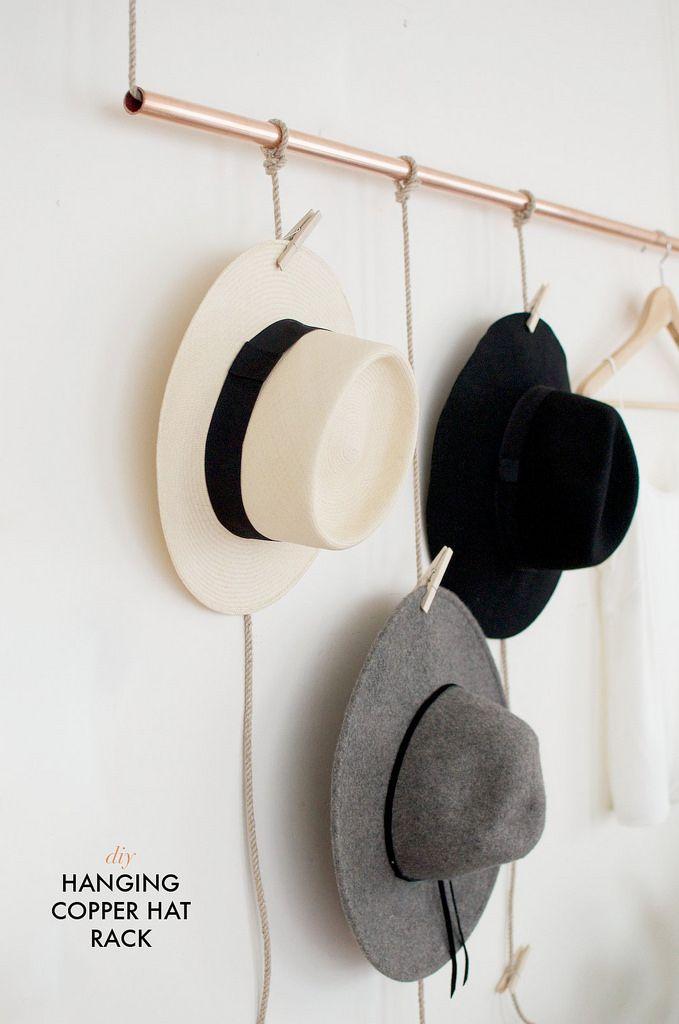 Diy Hanging Copper Hat Rack Collective Gen Minimalist Diy Projects Hanging Hats Hat Rack