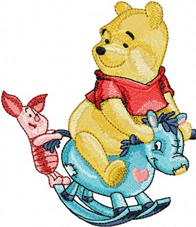Winnie Pooh and Piglet riding Rocking Horse machine embroidery ...