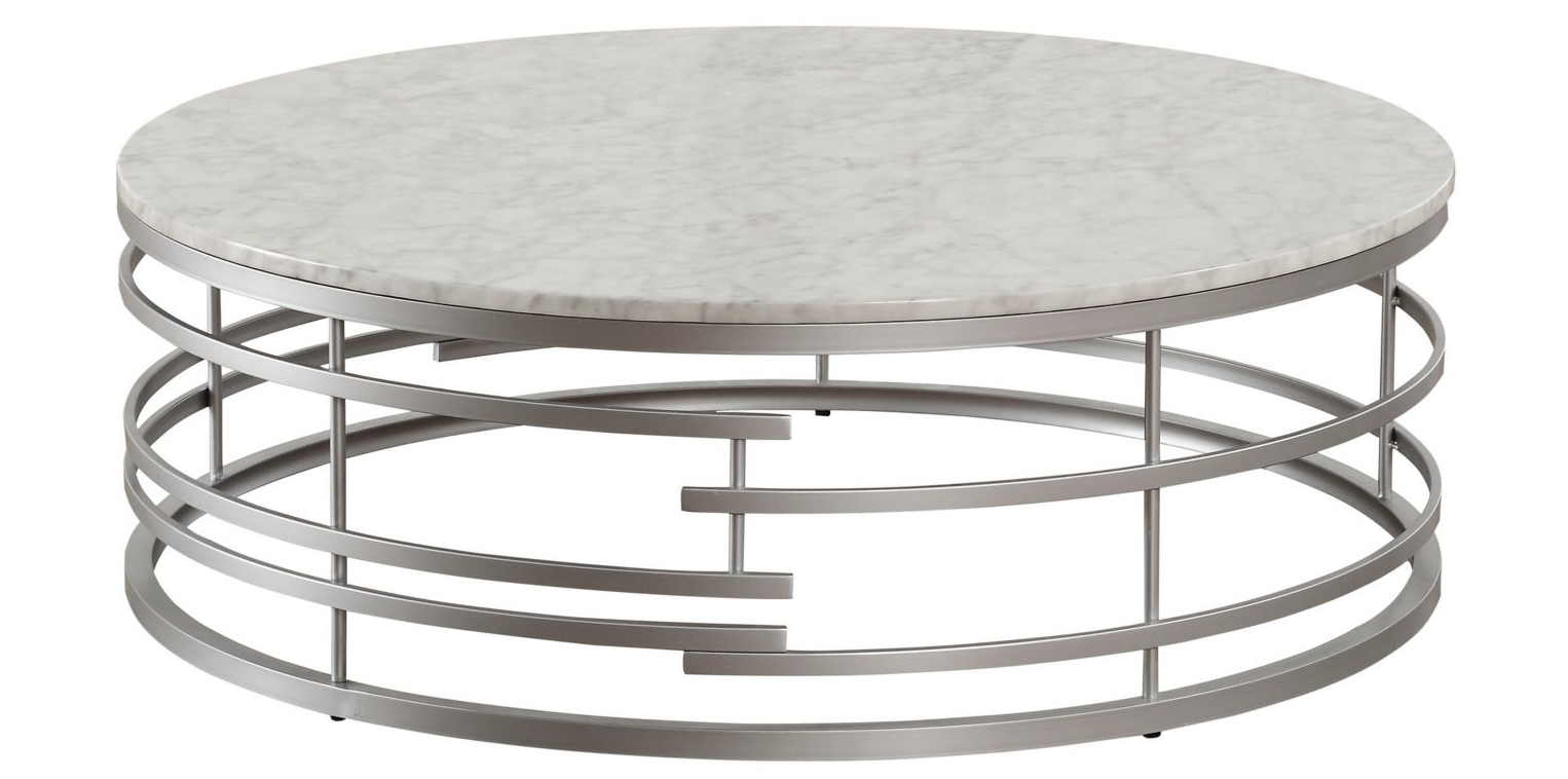 Homelegance Jaxton Large Round Marble Coffee Table Silver L 45 50