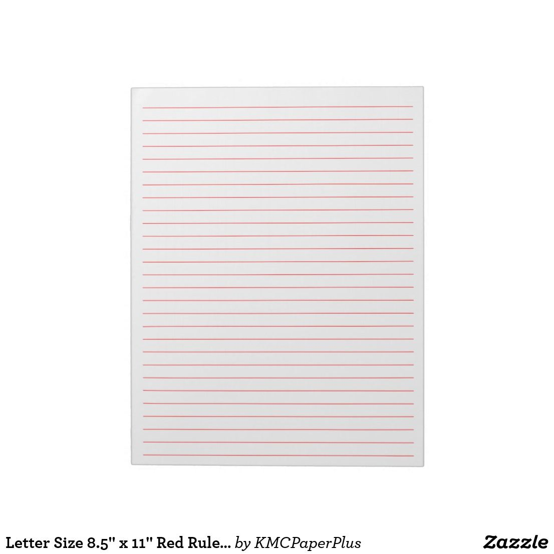 """Letter Size 8.5"""" X 11"""" Red Ruled Wide Lined Paper Notepad"""
